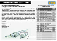 Important Safety Recall Notice Road & Track steering damper brackets